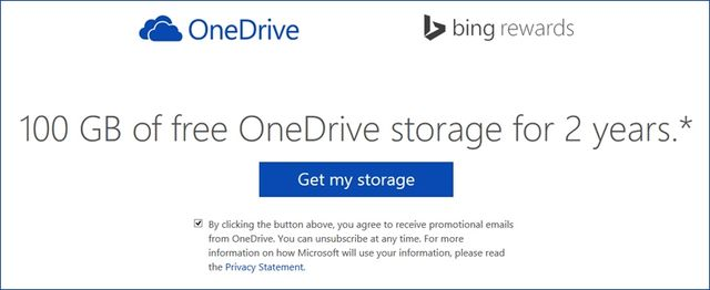Share Microsoft: 100 GB of free space in the storage OneDrive