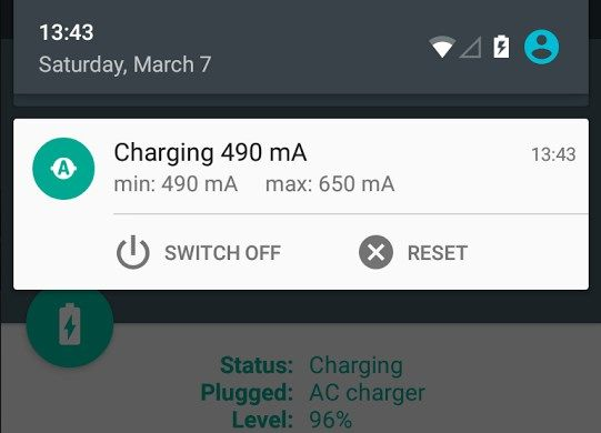 Ampere shows how fast charged Android-smartphone