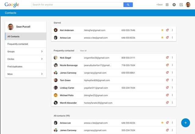 Google radically updated web application Contacts