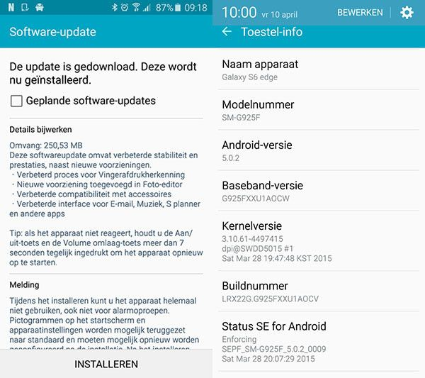 Android 5.0.2 came out for the Samsung Galaxy S6 edge
