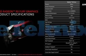 Characteristics of video card Radeon R9 Fury on AMD presentation slides