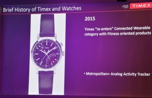 "Timex showed ""smart"" watches with functions activity tracker"
